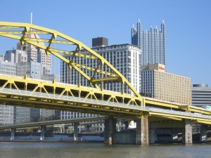 view of Pittsburgh from Clemente Bridge